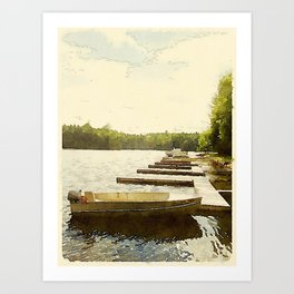 Lily Bay Docks, Maine Art Print