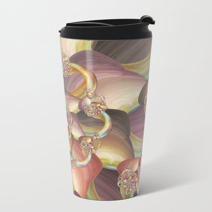Quiescence Floral Fractal Metal Travel Mug