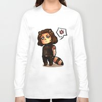 bucky Long Sleeve T-shirts featuring raccoon!bucky by zombietonbo