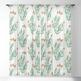 Abstract Green Plant With Orange Buds Sheer Curtain