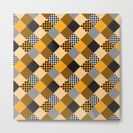 Orange Black and White Diagonal Country Patchwork Quilt Metal Print
