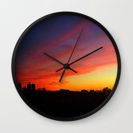 Farm Sunset. Wall Clock