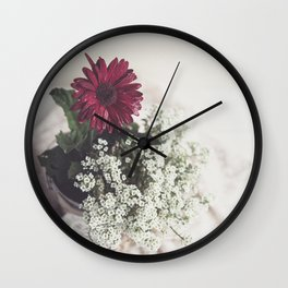 Red Daisy Soft and Airy Square Wall Clock