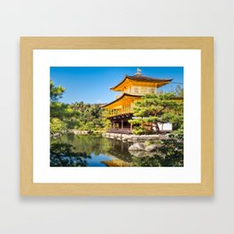 Side View of the Golden Pavilion in Kyoto, Japan. Framed Art Print