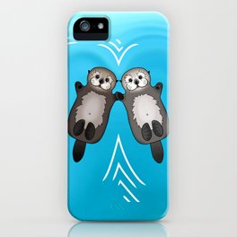 Otters Holding Hands - Otter Couple iPhone Case