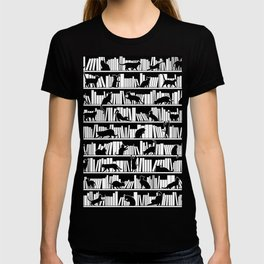 All I Need Is Books & Cats Bookish Book & Cat Lover Pattern T-shirt