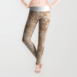 Vintage white brown grunge shabby floral Leggings