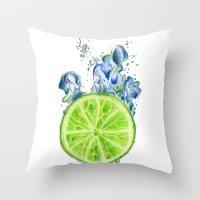 lemon Throw Pillows featuring Lemon by jausrine