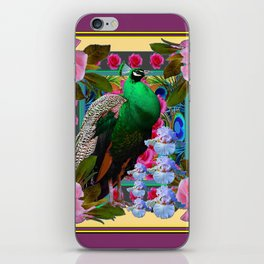 YELLOW-PUCE  PURPLE & PINK ROSES GREEN PEACOCK FLORAL iPhone Skin
