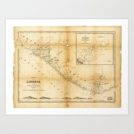 Map of Liberia (1870) Art Print