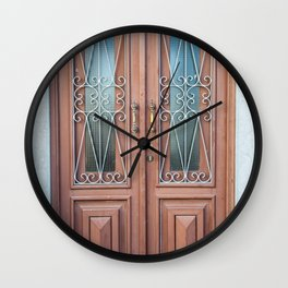 Weathered Brown Wood Door of Old World Portugal Wall Clock