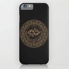 Pisces Zodiac Mandala - Gold on Charcoal iPhone Case