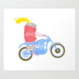 I love moto and beer Art Print