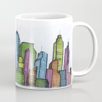 cityscape Mugs featuring Cityscape  by Joseph Kennelty