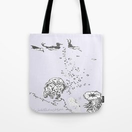 Two Tailed Duck and Jellyfish Lavender Tote Bag