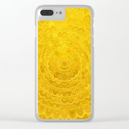 Golden Flower Mandala Clear iPhone Case