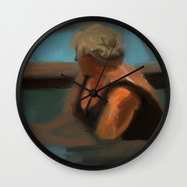 Woman in pool painting Wall Clock