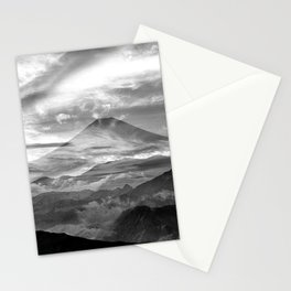 Surreal landscape art, black and white nature Stationery Cards