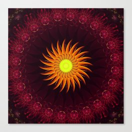 A Floral Sun Mandala of a Thousand Ruby Red Roses Canvas Print