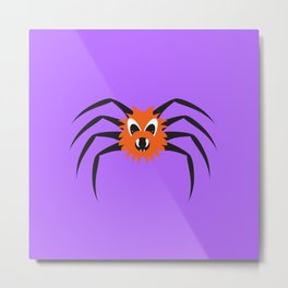 Spooky Spiders - Ginger Reg Cartoon Spider on Web Metal Print