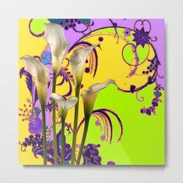 Fantasy Calla Lily Garden Gold-Lilac-Lime Color Designs Metal Print