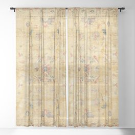 Craft Carpet Century Authentic Colorful Dull Yellow Golden Distressed Vintage Rug Pattern Sheer Curtain