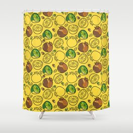Citric Fruits vYellow Shower Curtain