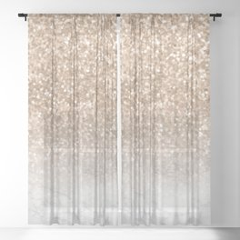 Pretty Gold Marble Sparkle Sheer Curtain