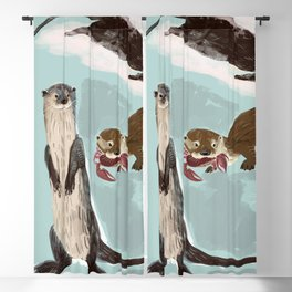 New World otters Blackout Curtain
