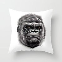 gorilla Throw Pillows featuring Gorilla by Creadoorm