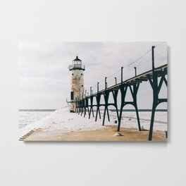 Manistee Lighthouse In Winter Metal Print