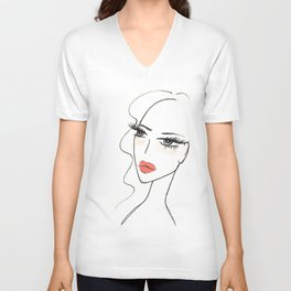 Red lips girl portrait Unisex V-Neck