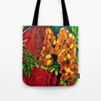 "cassia beck Tote Bags featuring ""Cassia"", Fine Art Print, Oil painting, flowers painting, yellow, floral wall decor, flowers art by Adriana Calcines"