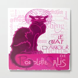 Le Chat D'Amour In Pink With Words of Love Vector Metal Print