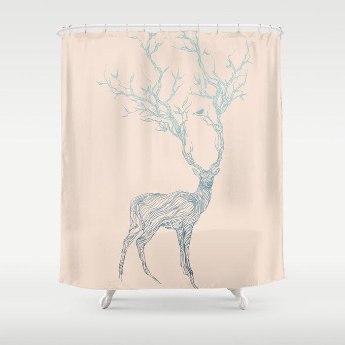 Blue Deer Shower Curtain