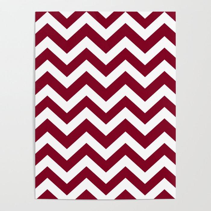 Oxblood - purple color -  Zigzag Chevron Pattern Poster