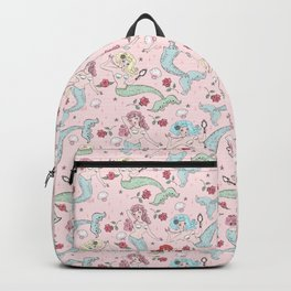 Mermaids and Roses on Pink Backpack