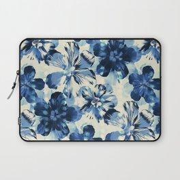 Shibori Inspired Oversized Indigo Floral Laptop Sleeve