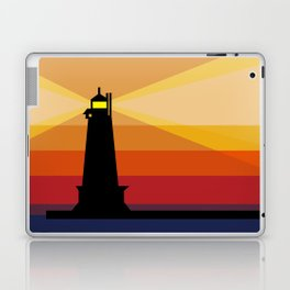 Lighthouse Silhouette At Sunset in Michigan Laptop & iPad Skin