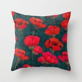 Poppybunch - Teal Throw Pillow