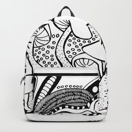 Mushrooms outline black and white drawing Backpack