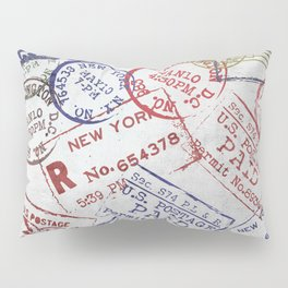 Vintage Postage Stamps grunge Design Pillow Sham