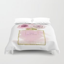 Pink & Gold Floral Fashion Perfume Bottle Duvet Cover