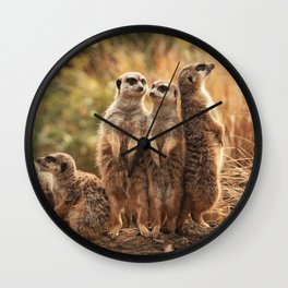 Meerkat Family Photography Wall Clock