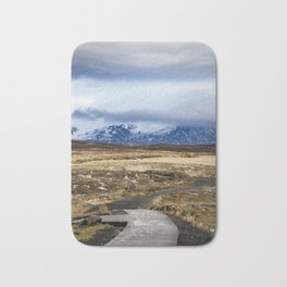 Wooden Trail in the Icelandic Wilderness Leading through the Tundra Bath Mat