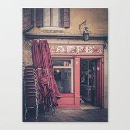 Venitian coffee shop caffé San Pantalon Venice Italy Canvas Print
