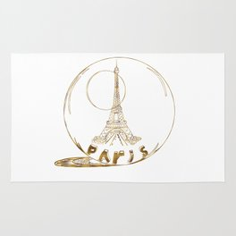 Golden Paris . Eiffel tower . Art Rug