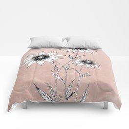Wildflowers Ink Drawing   Dusty Pink Comforters