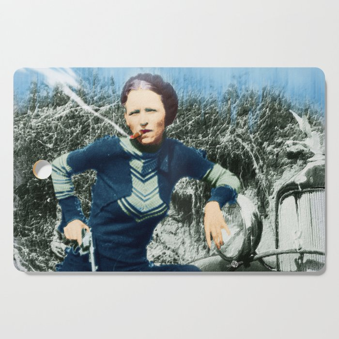Painting Of Bonnie Parker Of Bonnie And Clyde Mugshot Cigar Gun Cutting  Board by artwordsapparel