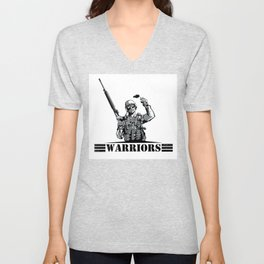 Soldier with rifle and grenade  Unisex V-Neck